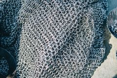 Chained texture of chainmail made of durable metal royalty free stock image