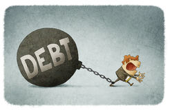 Chained to his debts. Illustration of businessman chained to his debts Royalty Free Stock Images
