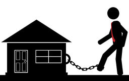 Chained to house. A man is chained to the house. It is a stick figure Royalty Free Stock Images