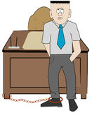 Chained to the job vector illustration