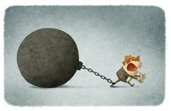 Chained to a large ball prisoner Stock Image