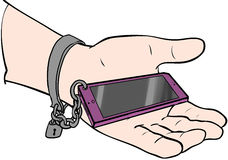 Chained to phone. Chained phone in palm of hand Royalty Free Stock Photography