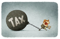 Chained to taxes. Illustration of businessman chained to taxes Royalty Free Stock Images