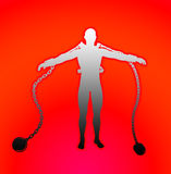 Chained Up. Conceptual outline image of a man all chained up Royalty Free Stock Photo