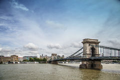Chained. View of the Széchenyi Chain Bridge, Budapest, Hungary Royalty Free Stock Image
