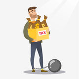 Chained woman with bags full of taxes. Chained caucasian taxpayer carrying heavy bags with taxes. Upset taxpayer holding heavy bags with dollar sign. Concept of Royalty Free Stock Image