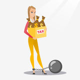 Chained woman with bags full of taxes. Stock Image