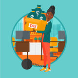 Chained woman with bags full of taxes. Royalty Free Stock Photo