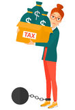 Chained woman with bags full of taxes Stock Image