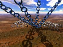 Chained world. A 3D bryce rendered pictures of a chained world, very surreal Royalty Free Stock Photo