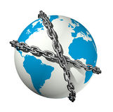 Chained world globe. 3D icon illustration of a chained world globe Royalty Free Stock Photo