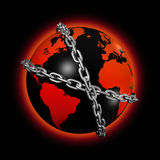Chained world globe. 3D icon illustration of a chained world globe Stock Image
