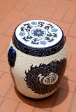 Chainese Ceramic Seat. The vintage Chainese ceramic seat stock photos