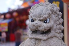 Chinese lion statues. At Suphanburi Thailand royalty free stock image
