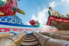 Chainese temple. Chinese temple roof with blue sky in the island Stock Photography