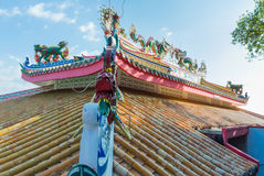 Chainese temple. Chinese temple roof with blue sky in the island Royalty Free Stock Photos
