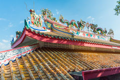 Chainese temple. Chinese temple roof with blue sky in the island Royalty Free Stock Photography