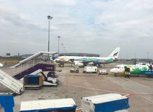 Chaing Rai Airport , with Bangkok Airlines planes on the tarmac royalty free stock photo