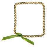 chainlet框架金子绿色丝带 免版税库存图片
