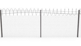 Chainlink fence with barbed wire, front view vector illustration