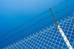 Chainlink fence and the blue sky. A chainlink fence with barbed wire against a clear blue sky Royalty Free Stock Images