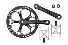 Chainring e pedali della guarnitura della bici messi Fotografia Stock