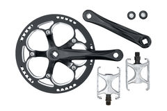 Chainring et pédales de crankset de vélo réglés Photographie stock