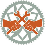 Chainring repair badge. Vector bike repair badge with bike chainring and tools Royalty Free Stock Photography
