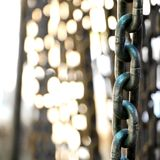 Chains. A collection of industrial-grade chains as found in a hardware shop in Thailand Stock Photography