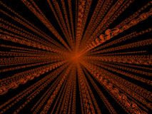 Chains abstract. Semitransparent orange chains radiating from the center; 3d rendering Vector Illustration