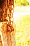 The chains are attached to the old wood Royalty Free Stock Photography