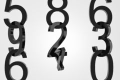 Chains of big black numbers over white background. Vertical rows of big black numbers over white background. Concept of math, arithmetics and economy. 3d royalty free illustration