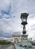 Chains Bridge. Of Budapest (Hungary), with a lamppost in the foreground Stock Image