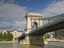 Chains Bridge from the Danube. Chains Bridge of Budapest (Hungary) seen from the Danube River Royalty Free Stock Images