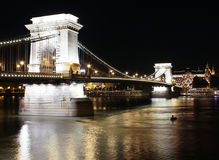 Chains Bridge at Night. Budapest Royalty Free Stock Photos