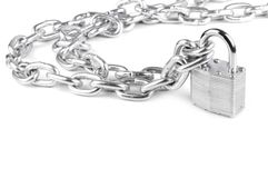 Chains are closed on a lock Stock Images