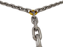 The chains connected by chain link on white Stock Images