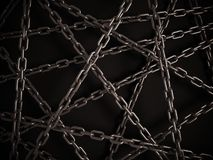 Chains on the dark background. 3d illustration Royalty Free Stock Images
