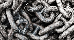 Chains. Detail of a rusty chains Royalty Free Stock Photo