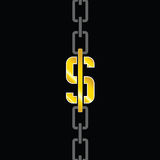 Chains with dollar steel vector Stock Photos