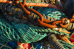 Chains and fish trawl. Bunch of chains and fish trawl, closeup stock image