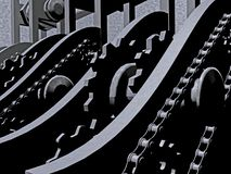 Chains and gears. As abstract background, 3D illustration royalty free illustration