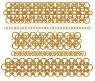 Chains of gold rings Royalty Free Stock Images