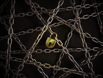 Chains with golden lock. On the dark background Stock Image