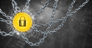 Chains holding core security lock graphic icon. Digital composite of Chains holding core security lock graphic icon Royalty Free Stock Photography