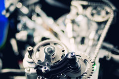 Chains and idler from motorcycle engine Royalty Free Stock Photography