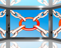 Chains Joint On Screen Shows Unity Royalty Free Stock Photo