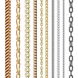 Chains link strength connection vector seamless pattern of metal linked parts and iron equipment protection strong sign Stock Photos