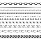 Chains link strength connection vector seamless pattern of metal linked parts and iron equipment protection strong sign. Shiny design background. Industrial royalty free illustration