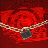 Chains and lock over red background Stock Photos